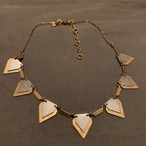 Brushed gold and silver spike J.Crew necklace